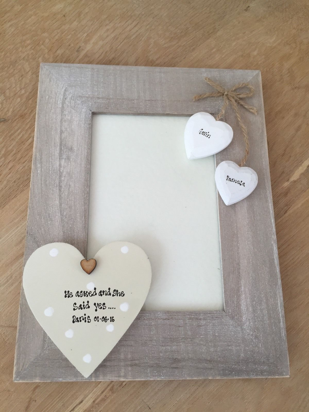 shabby personalised chic photo frame special engagement wedding gift present
